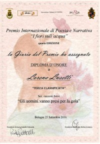 3° classificata Premio Internazionale di Poesia e Narrativa