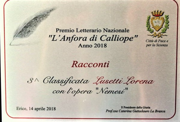 3° classificata Premio Letterario Nazionale