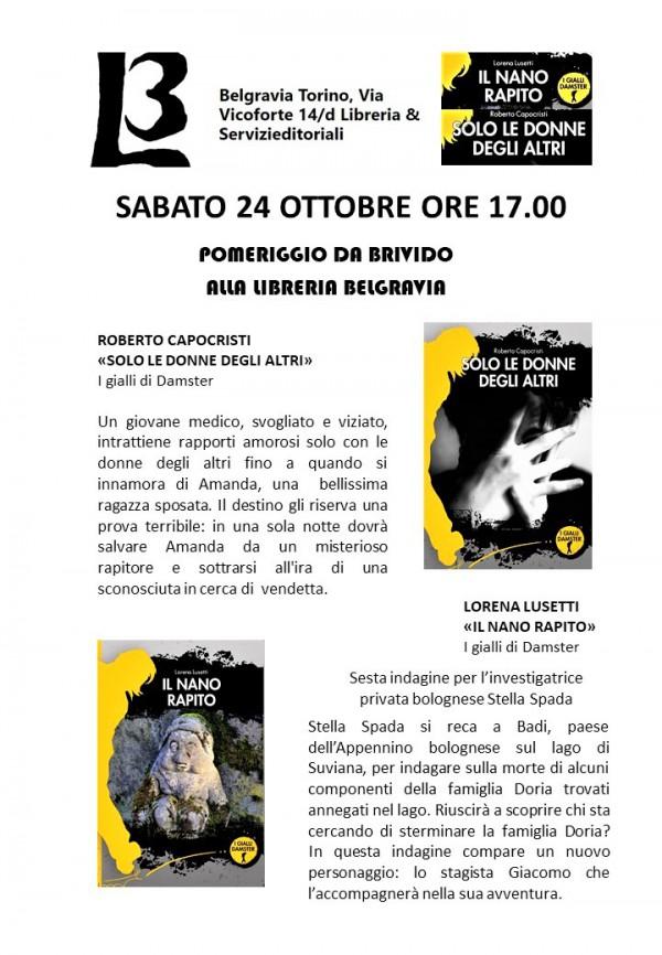 24 ottobre 2020 Pomeriggio da brivido alla libreria Belgravia di Torino